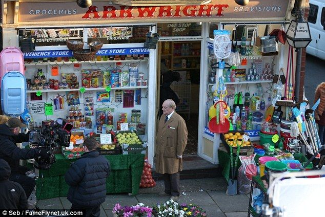 Sir David Jason wipes away a tear as he reprises the role of Granville whilst filming an Open All Hours Christmas special