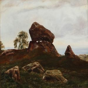 Otto Haslund - Danish Summer Landscape With A Dolmen, In The Background The Sea
