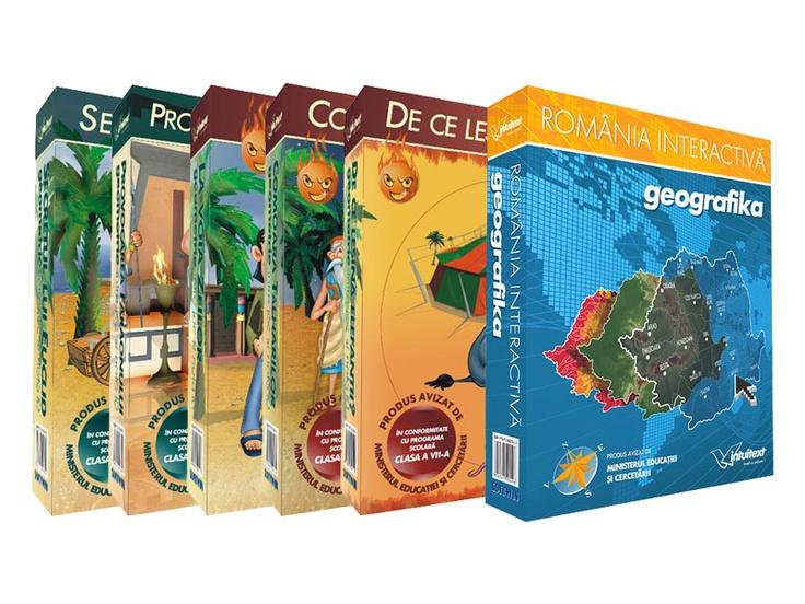 Pachet Gimnaziu (Geometrie, intre joc si nota 10 - 5 volume + Geografika - Romania interactiva)