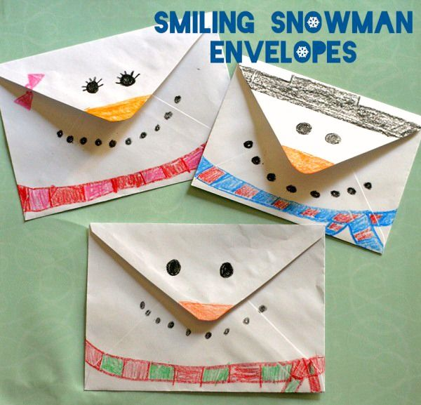 Here is a fun way for your kids to decorate a Christmas or winter letter to grandparents or friends – smiling snowman envelopes!