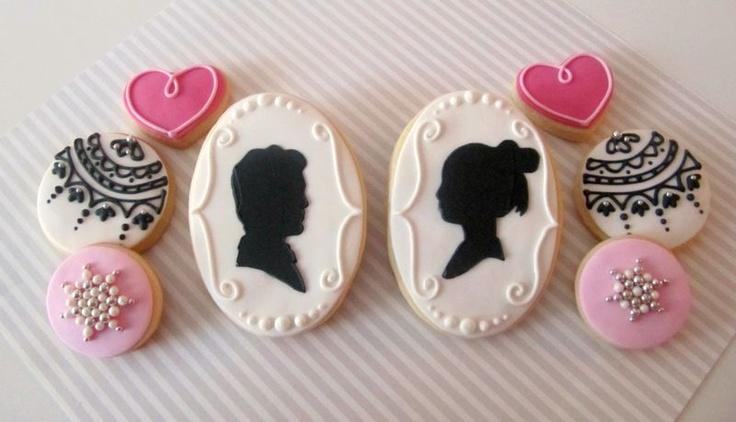 .: Sugar Cookies, Pretty Cookies, Couture Cookies, Cameo Cookies, Cookies Decor, Bridal Cookies, Delicious Cake, Decor Cookies, Cookies Cookies Cookies