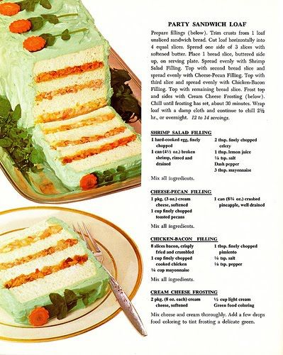 Party Sandwich Loaf - Betty Crocker cookbook 1970.  i keep having this urge to make the party retro!