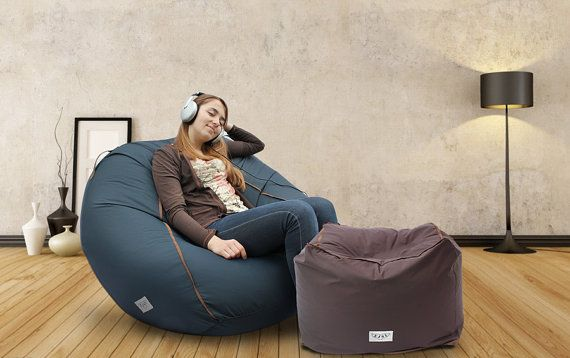 Adult bean bag chair, large contemporary lounge beanbag chair, comfort & quality fabric 100x80x80cm (cover + insert)