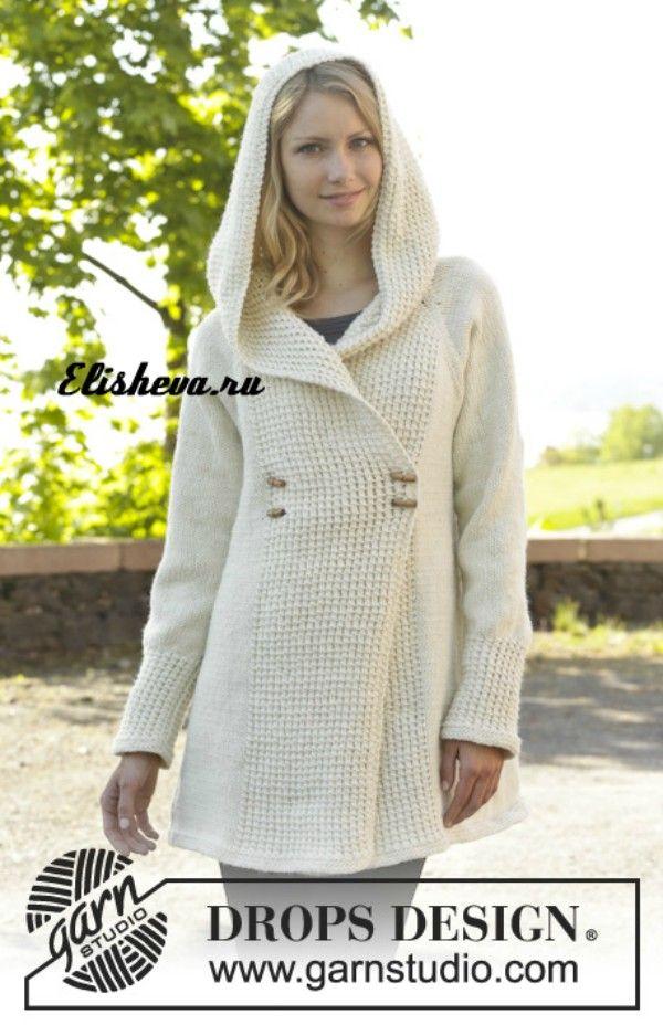 Пальто с капюшоном Snow Princess («Белоснежная принцесса») от DROPS Design, вязаное спицами