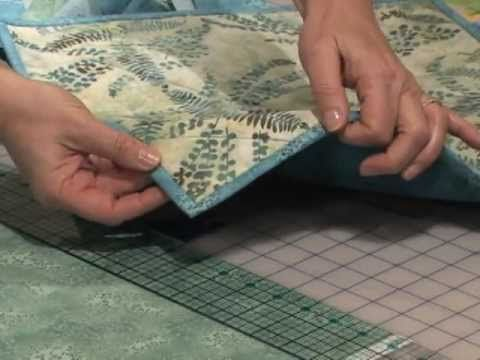 Double Fold Quilt Binding Technique.   Follow her easy instructions and you'll get perfectly-mitered corners on your quilting projects every time!  Also joining the two ends.