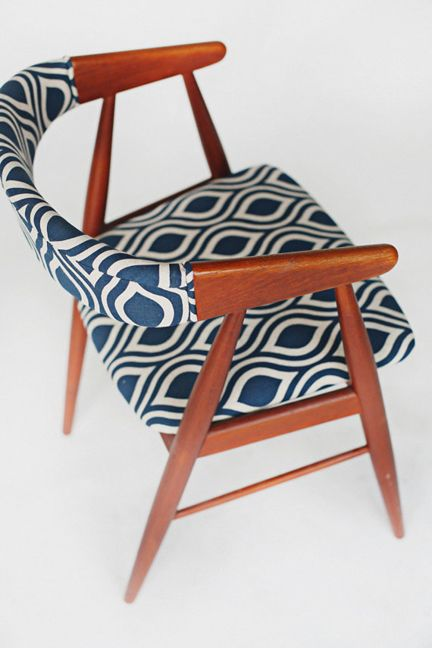 Mid Century Danish Modern Dining Accent Chairs blue geometric upholstered top view