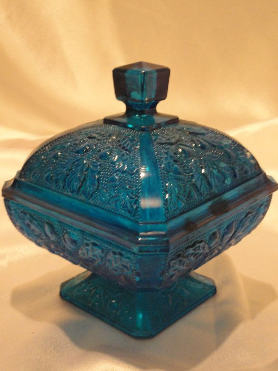 teal depression glass candy dish with acorn and oak leaf pattern