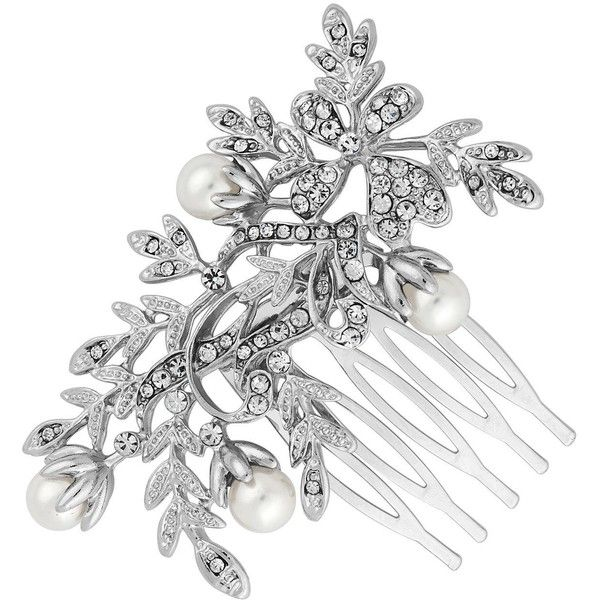 Jon Richard Leaf Entwined Hair Comb ($34) ❤ liked on Polyvore featuring accessories, hair accessories, jewels, jeweled hair combs, jon richard, leaf hair accessories, jeweled hair accessories and hair combs
