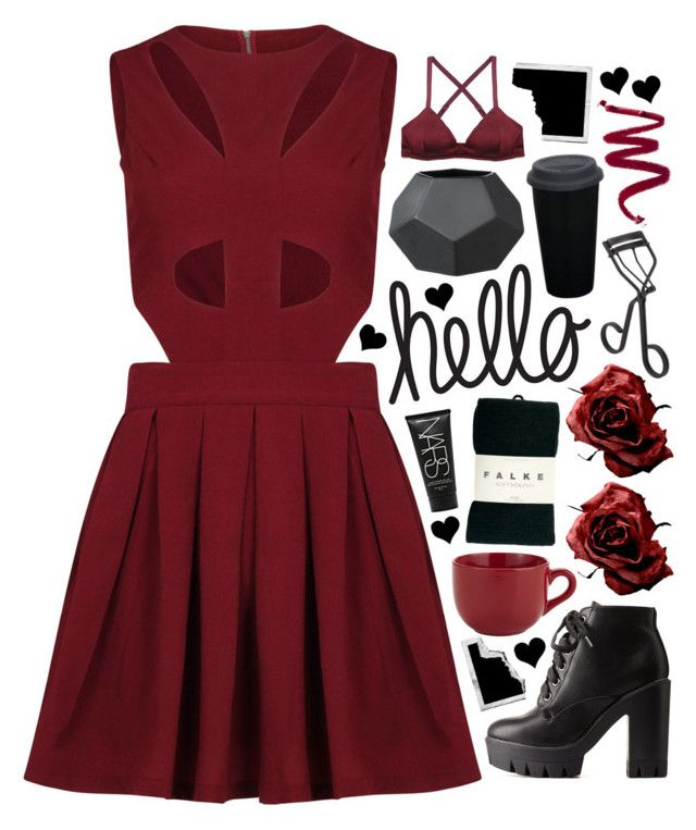 """""""#539"""" by emilypondng ❤ liked on Polyvore featuring Charlotte Russe, Pier 1 Imports, Zinke, Falke, Surratt, Polaroid, NARS Cosmetics and marsaladress"""