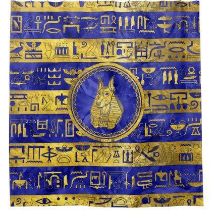 Golden Anubis  with hieroglyphs on blue Shower Curtain - shower curtains home decor custom idea personalize bathroom