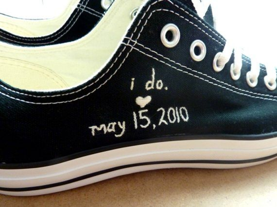 Custom Embroidered Chuck Taylors... I'm so doing this! YES!!!! I want to have them bedazzled and put in a shadow box after the wedding!