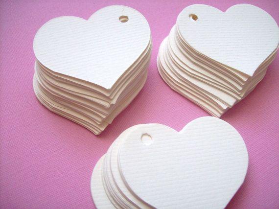 Blanc Etiquettes cadeaux cœur tendre - set de 100 - grands plus de 2 pouces chacun - tags de faveur de mariage