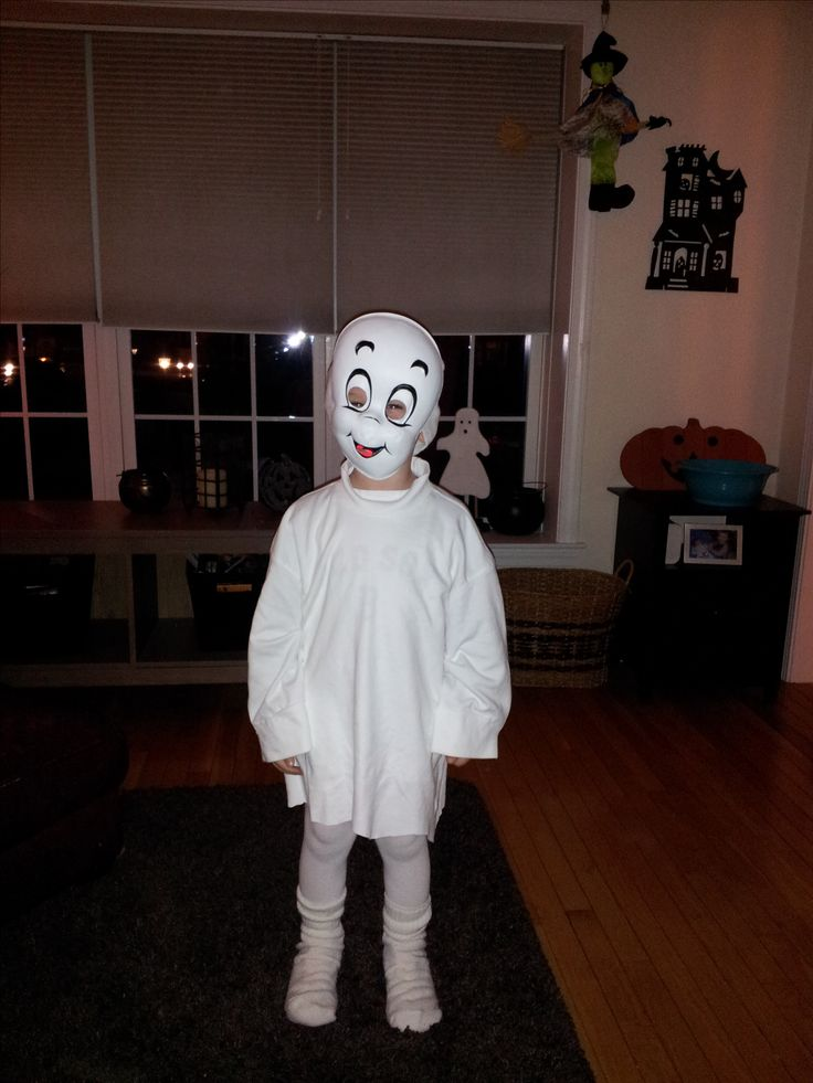 Friendly ghost Halloween costume made with an oversized white turtle neck, white tights and a Casper mask.