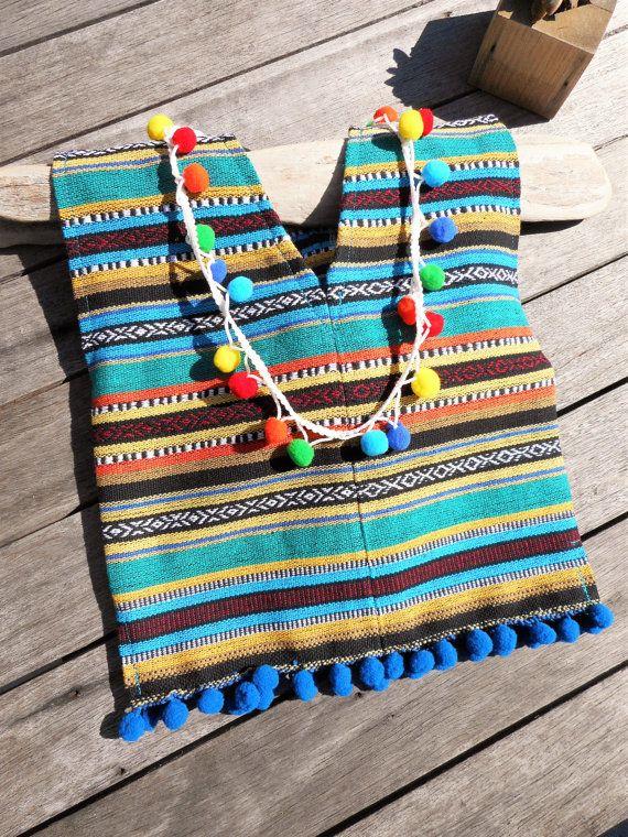 Mexicaanse PONCHO peuter puur katoen / Mexicaanse textiel