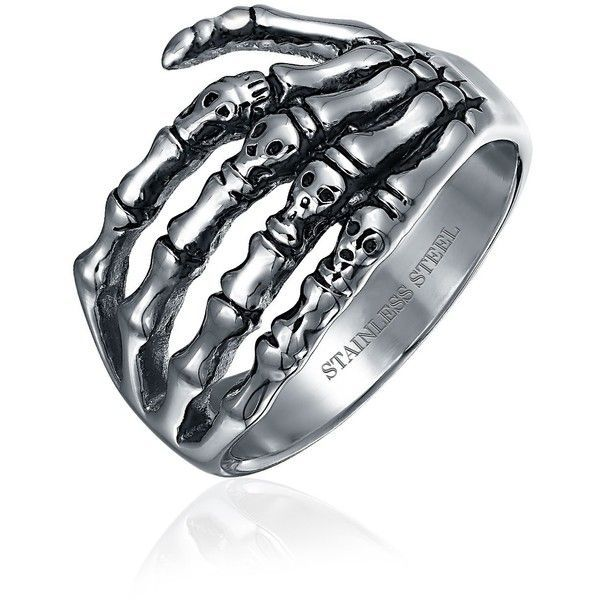 Stainless Gothic Biker Mens Skeleton Hand Skull Ring ($15) ❤ liked on Polyvore featuring men's fashion, men's jewelry, men's rings, mens stainless steel biker rings, mens stainless steel rings, mens band rings, mens gothic rings and mens stainless steel skull rings