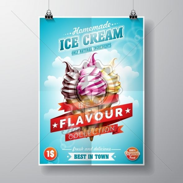 Vector delicious Ice Cream Flyer Design on sky background. - Royalty Free Vector Illustration
