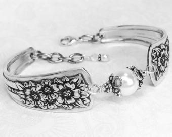 Pulsera de la cuchara blanco perlas de agua dulce pulseras