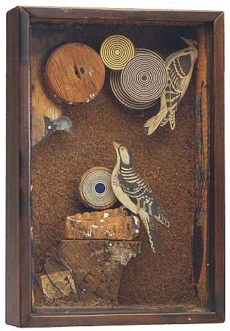 Joseph Cornell, Untitled (Woodpecker Habitat), 1946, box construction, h: 13.63 x w: 9.13 x d: 3 in / h: 34.62 x w: 23.19 x d: 7.62 cm. Provenance: Philadelphia Museum of Art
