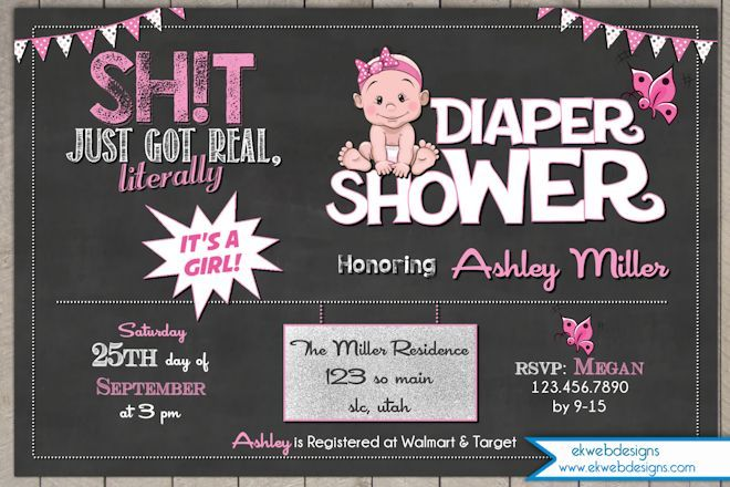 Shit Just got Real Diaper Shower Baby Shower Invitation- SH!T Just got real baby shower invite