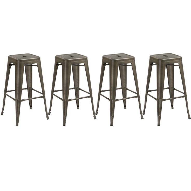 30 inch Industrial Stackable Antique Distressed Bronze Rustic Counter Bar Stool (Set of 4 Barstool) (Antique Distressed Rustic Metal Color), Brown