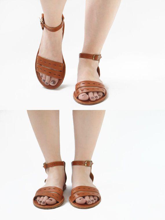 Sandals Handmade Leather  Cut Here in Tobacco brown  CUSTOM