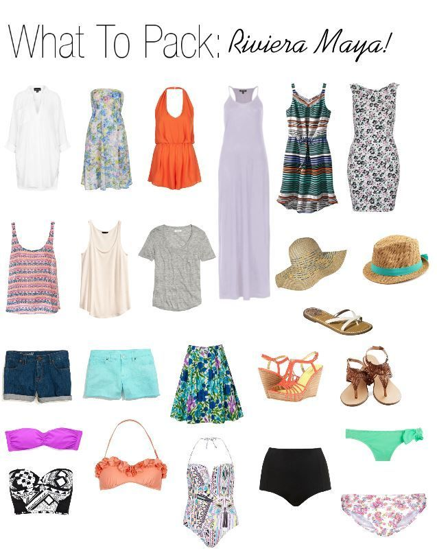 Packing For Mexico   jk notes: 3 tops, 3 bottoms, 2 swim suits, cover up ...