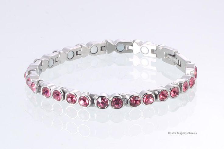 Magnetschmuck Magnetarmband silberfarben mit rosefarbenen Zirkonia € 49,00
