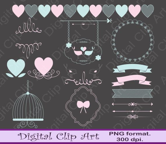 Digital wedding Clip art wedding badges wedding by digitalcliparts