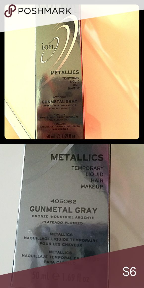 Metallic Tempoary Liquid Hair Makeup Gunmetal Gray Gives Hair a Gray/Silver Metallic Shimmer Color Brilliance Makeup