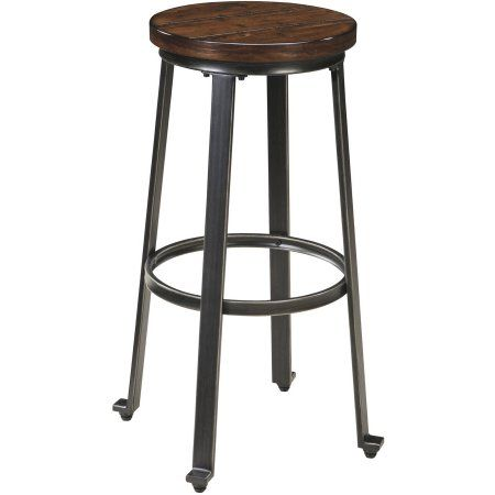 Ashley Challiman Set of 2 Tall Stool in Rustic Brown Finish D307-130, Red
