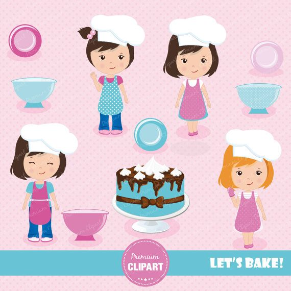 70% OFF SALE Baking girls clipart baking clipart by PremiumClipart