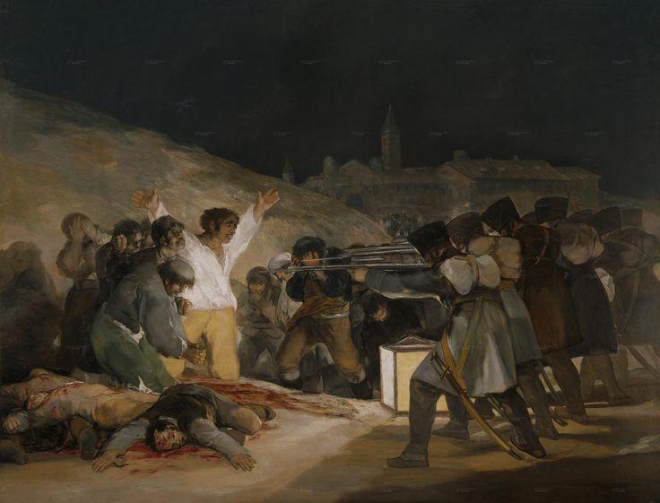 Los fusilamientos del 3 de mayo.  Obra realizada por Goya y que pertenece al romanticismo español. Quizás la obra más significativa del pintor, que en ella plasma la tragedia. Obra revolucionaria por el momento en el que fue pintada.   Destaca el hombre de camisa blanca en el centro de la obra que se entrega a la muerte como último grito de guerra.