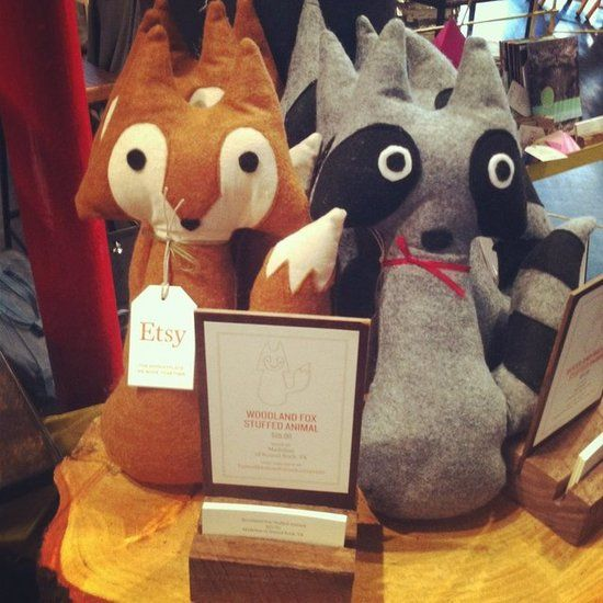 Woodland Fox and Raccoon Stuffed Animals...I feel like these could be pretty easy to make