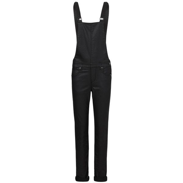 IDA Eliza Relaxed Skinny Dungaree - Grease ($255) ❤ liked on Polyvore featuring jumpsuits, grease, skinny leg jumpsuit, leather jumpsuit and skinny jumpsuit
