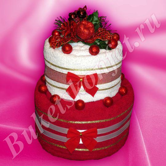 Торт из полотенец  Состав: 3 полотенца 100*150 см, 70*140 см, 50*90см.  Высота: 31 см.  В упаковке - 54 см.  Цена: 1 400 руб.