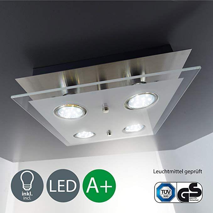 LED Deckenlampe I 4 flammiger Deckenstrahler I inkl 4 x 3 W GU10 - badezimmer led deckenleuchte ip44