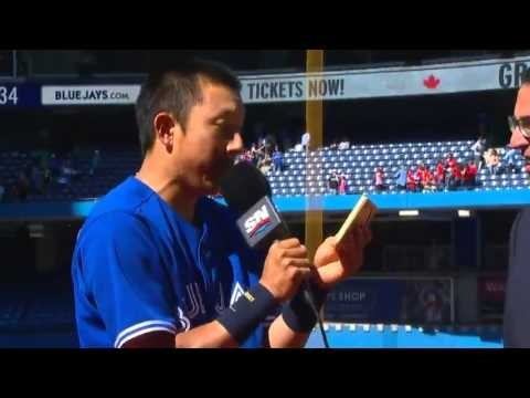 Do you think Munenori Kawasaki is excited for coming in and hitting a game-winning 2 run double, after coming in to replace an injured all-star?  Then his team mates take the opportunity to 'welcome' him to the team mid-interview.  This is all kinds of amazing and everything that sports should be!