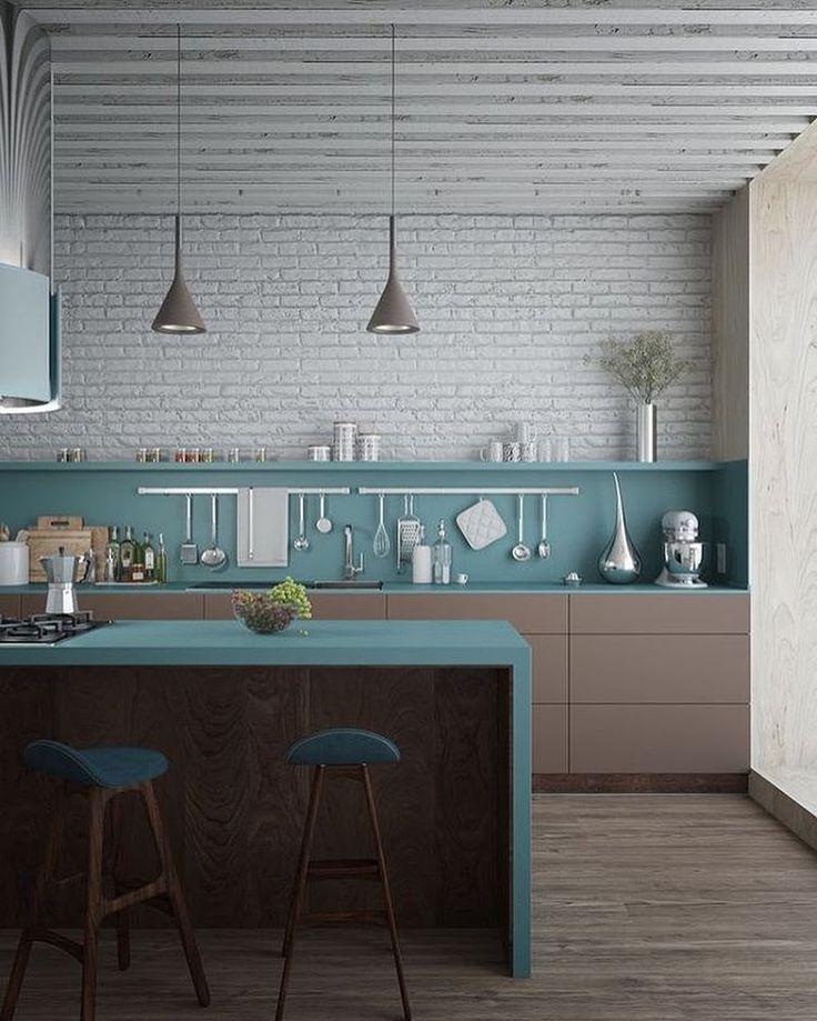 {inspo} se tem uma combinação que eu gosto é azul com marrom! e essa cozinha nesses tons esta maravilhosa. quem ai gosta de investir em cores e quem gosta do branco básico? #inspo #decor #instadecor #instagood #instafollow #decoracao #ape607 #meuape #cozinha #kitchen #cores #arquitetura #designdeinteriores