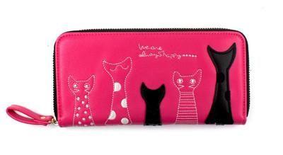 New Europe Women Cat Cartoon Wallet Long Creative Female Card Holder Casual Zip Ladies Clutch PU Leather Coin Purse ID Holder - 10 MINUS