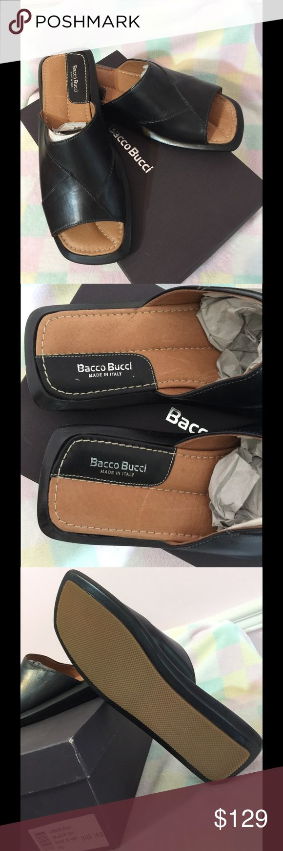 BACCO BUCCI MEN's Crescent style, LEATHER Sandals Original in the box, NEW!!!! Bacco Bucci Shoes Sandals