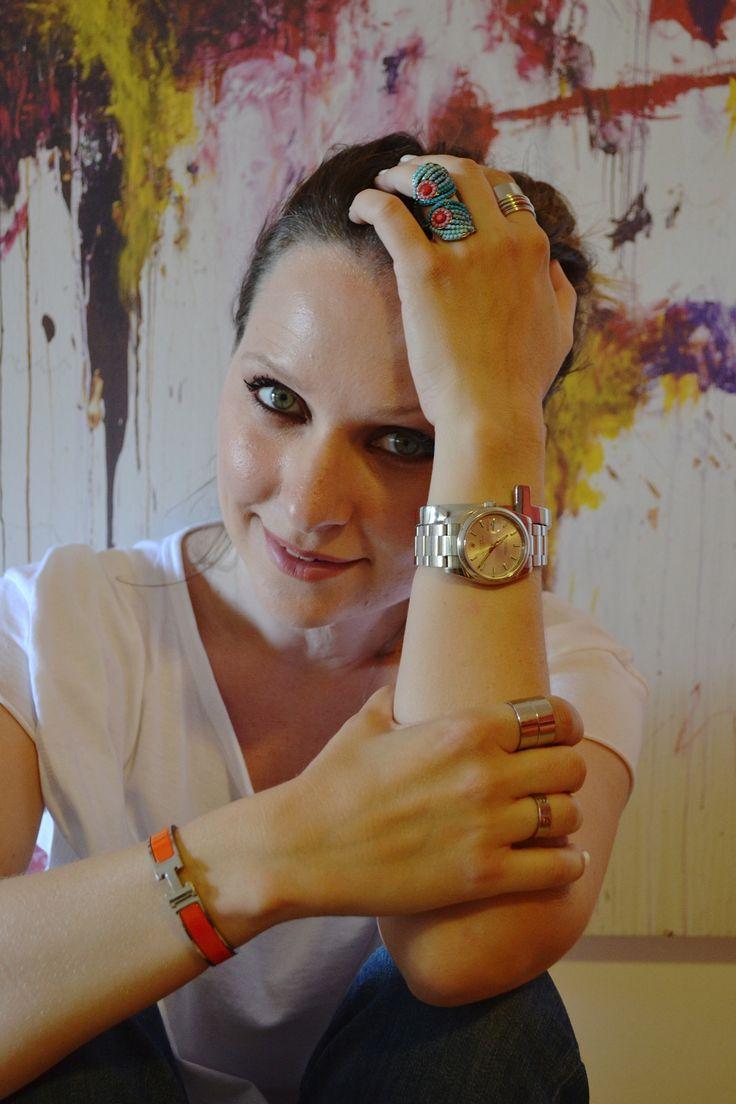 Arm party... wearing @ROLEX, @Angela Hermes, @Cartier @Mimi Levelle Follie @Hollie Baker