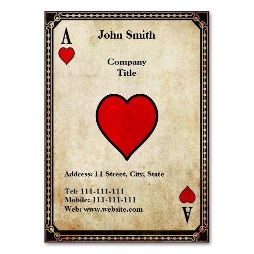 Vintage Ace of Hearts Business Card Templates