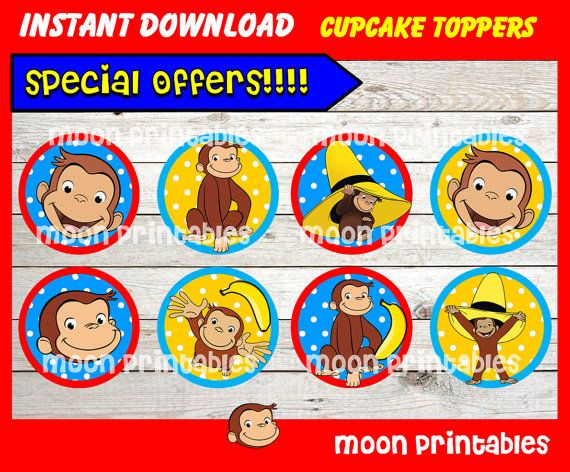 80% OFF SALE Curious George Cupcakes Toppers by moonprintables