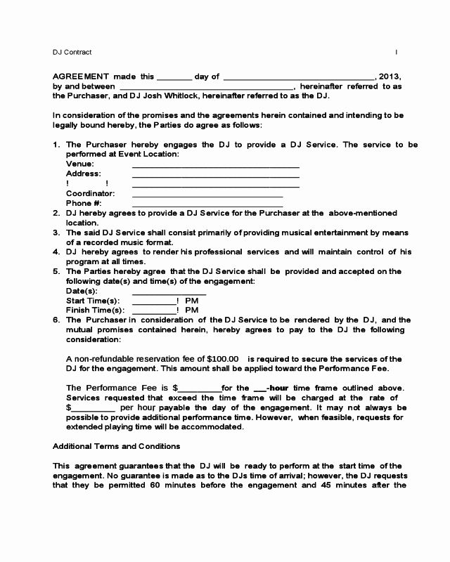 Free Dj Contract Template In 2020 Contract Template Templates