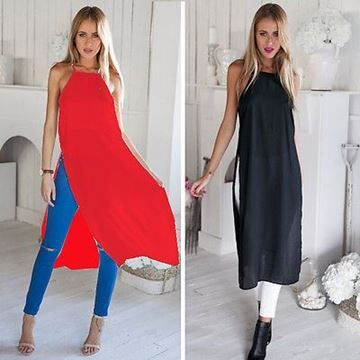 Show details for Women Two Side High Split Chiffon Blouse Dress Semi Sheer Tops