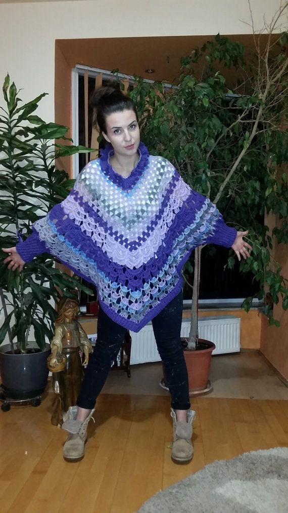 Women handcrochet poncho with long sleeve  by AnnesMagicCrochet