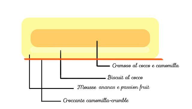 Sole dei tropici: Cocco, camomilla e frutta tropicale: biscotto al cocco, crumble al cocco e camomilla, croccante al cioccolato bianco, crumble e camomilla, cremoso al cocco e camomilla, mousse di ananas e passion fruit (Pinella), glassa ai frutti tropinali (Michalak)