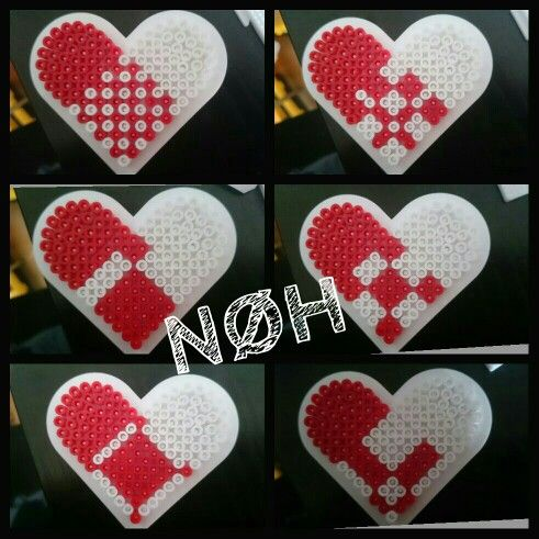 Christmas heart ornaments hama beads by Nathalia Henningsen