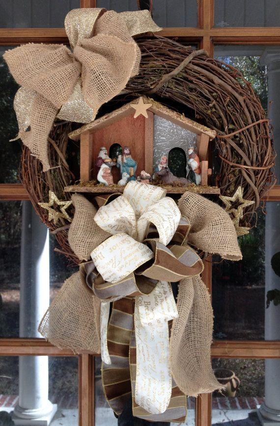 Nativity Scene Wreath Christmas Grapevine Wreath