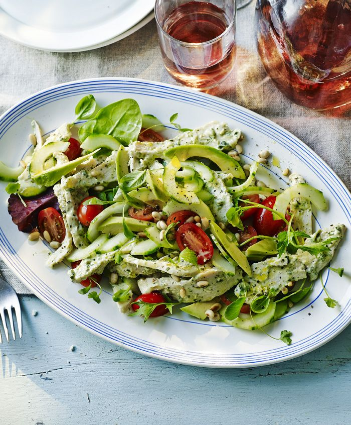 A super summery salad with chicken, pesto and avocado. That's surely all your food groups!